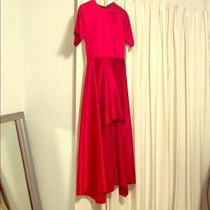 Zara Red Satin Asymmetrical Dress. New with tags